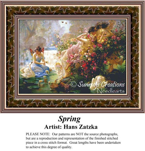 Spring, Hans Zatzka Counted Cross Stitch Pattern, Spring Counted Cross Stitch Pattern