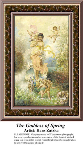 The Goddess of Spring, Hans Zatzka Counted Cross Stitch Pattern, Spring Cross Stitch Patterns