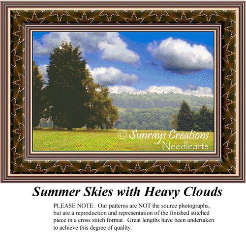 Summer Skies with Heavy Clouds, Landscape Cross Stitch Pattern, Summer Counted Cross Stitch Patterns