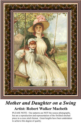 Mother and Daughter on a Swing, Cross Stitch Pattern