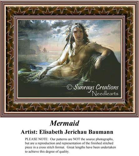Mermaid, Fine Art Cross Stitch Pattern