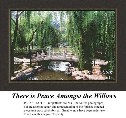 There is Peace Amongst the Willows, Landscape Cross Stitch Pattern