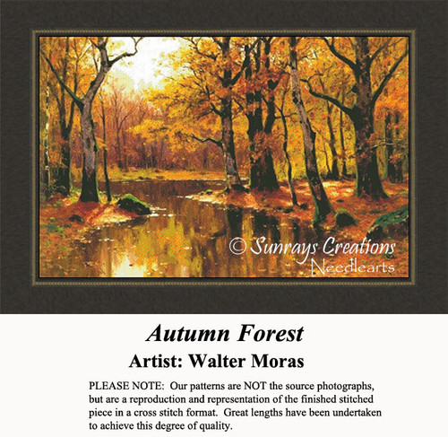 Autumn Forest, Fine Art Counted Cross Stitch Pattern, Fall Counted Cross Stitch Pattern