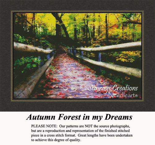 Autumn Forest in my Dreams, Landscape Counted Cross Stitch Pattern, Fall Counted Cross Stitch Patterns