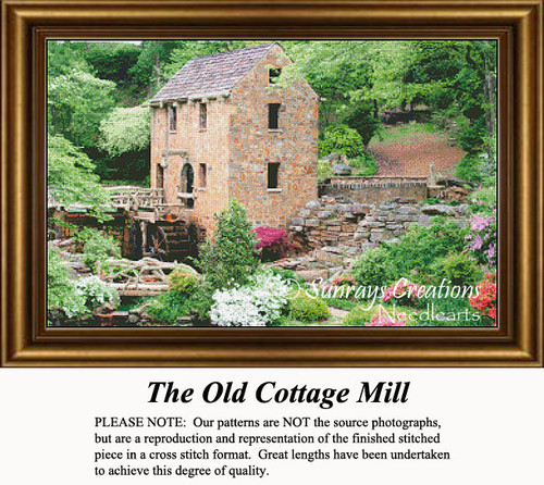 The Old Cottage Mill, Landscape Counted Cross Stitch Pattern