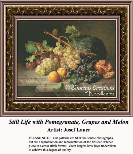 Still Life with Pomegranate, Grapes and Melon, Still Lifes Counted Cross Stitch Pattern, Fine Art Counted Cross Stitch Pattern