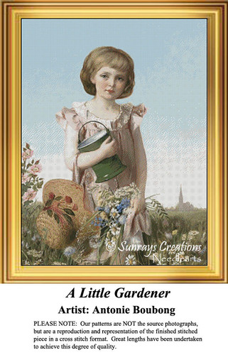 A Little Gardner, Vintage Counted Cross Stitch Pattern