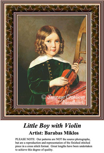 Little Boy with Violin, Fine Art Counted Cross Stitch Patterns, Children Counted Cross Stitch Patterns