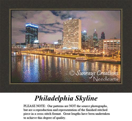 Philadelphia Skyline, Urban Counted Cross Stitch Patterns, Waterscapes Counted Cross Stitch Patterns