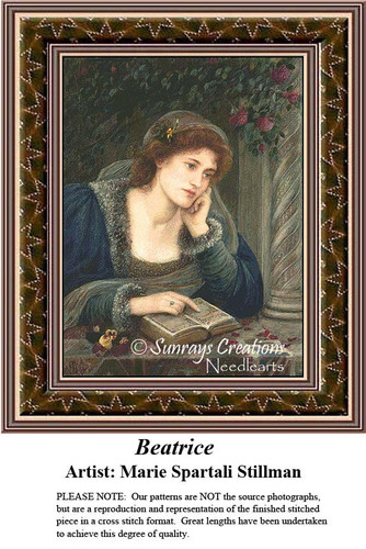 Works of Art Cross Stitch Patterns | Beatrice by Marie Spartali Stillman