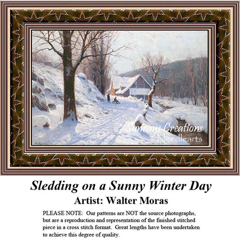 Sledding on a Sunny Day, Winter Counted Cross Stitch Pattern