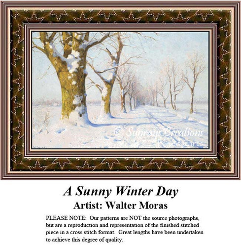 Winter Cross Stitch Pattern, Winter Counted Cross Stitch Patterns, A Sunny Winter Day