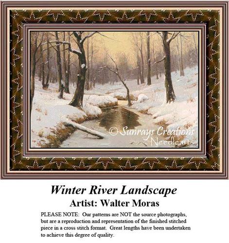 Winter River Landscape, Fine Art Counted Cross Stitch Pattern, Winter Cross Stitch Pattern