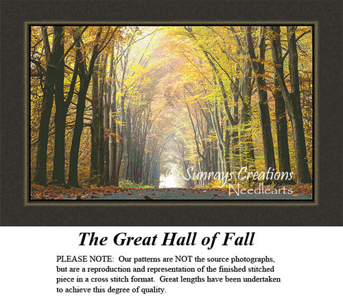 The Great Hall of Fall, Fall Counted Cross Stitch Pattern, Landscapes Counted Cross Stitch Pattern