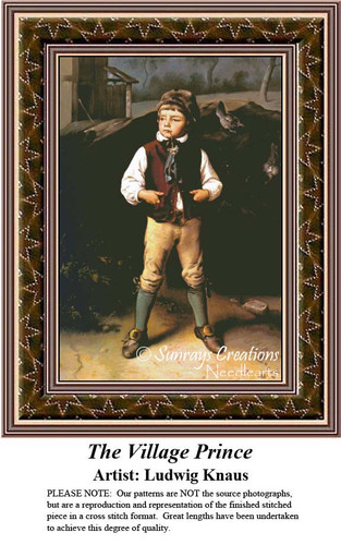 The Village Prince, Fine Art Cross Stitch Pattern, Children Counted Cross Stitch Pattern,