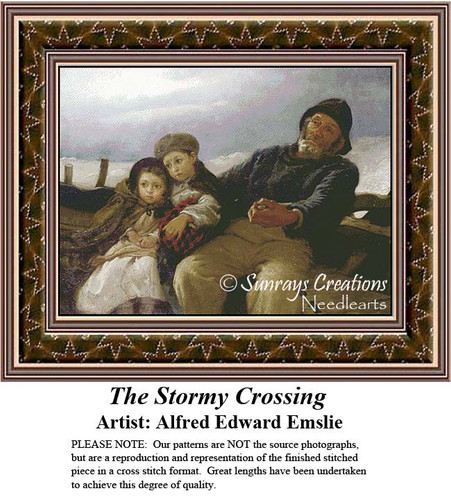 The Stormy Crossing, Fine Art Cross Stitch Pattern, Family Counted Cross Stitch Pattern