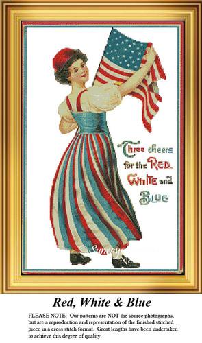 Patriotic Cross Stitch Patterns   Red, White & Blue