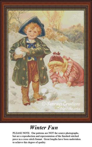 Winter Fun, Vintage Cross Stitch Patterns, Winter Counted Cross Stitch Pattern