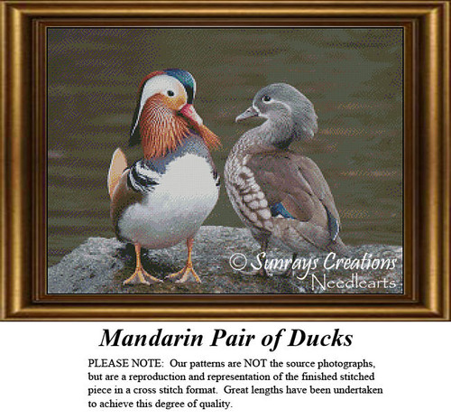 Animal Cross Stitch Patterns | Mandarin Pair of Ducks