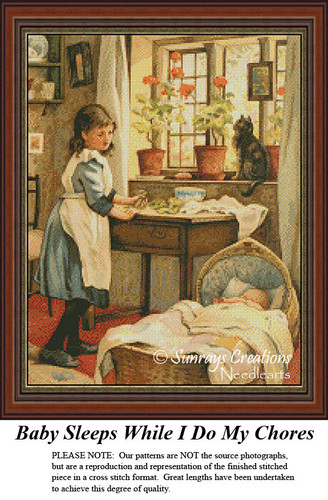 Vintage Cross Stitch Patterns | Baby Sleeps While I Do My Chores