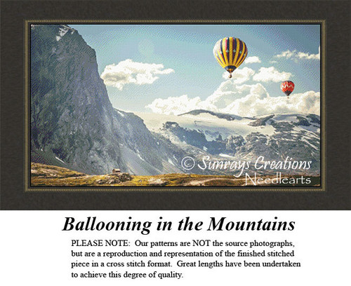 Alluring Landscapes Cross Stitch Patterns | Ballooning in the Mountains