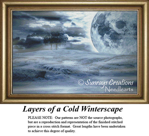Alluring Landscapes Cross Stitch Patterns | Layers of Cold Winterscape
