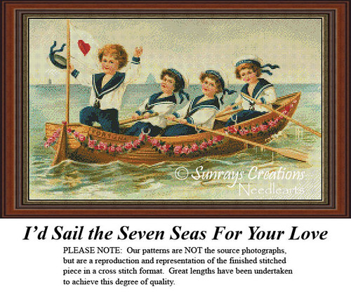 Vintage Cross Stitch Patterns | I'd Sail the Seven Seas for Your Love