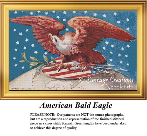American Bald Eagle, Patriotic Cross Stitch Pattern