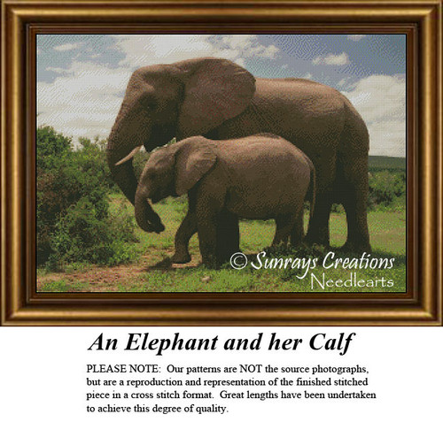Animal Cross Stitch Patterns | An Elephant and Her Calf
