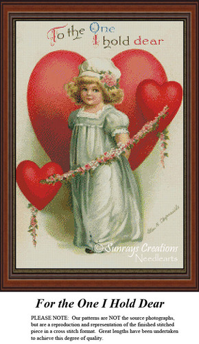 Vintage Valentine's Day Cross Stitch Pattern | For the One I Hold Dear