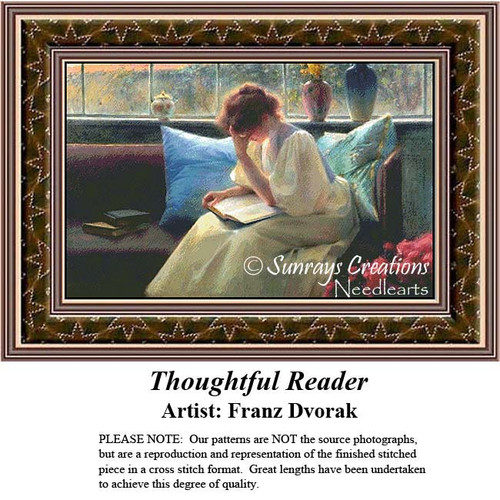 Thoughtful Reader, Fine Art Cross Stitch Pattern, Women Counted Cross Stitch Pattern