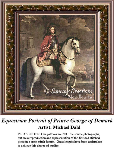 Equestrian Portrait of Prince George of Denmark, Fine Art Counted Cross Stitch Pattern, Men Counted Cross Stitch Pattern