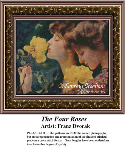Fine Art Counted Cross Stitch Patterns | The Four Roses