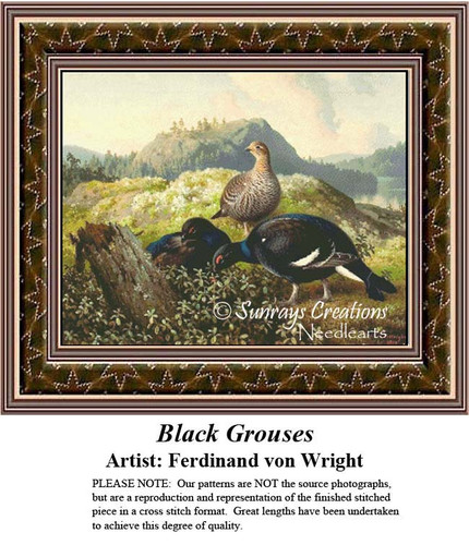 Fine Art Counted Cross Stitch Patterns | Black Grouses