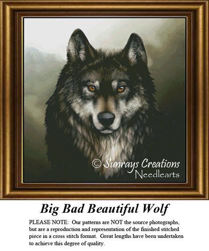 Animal Cross Stitch Patterns   Big Bad Beautiful Wolf