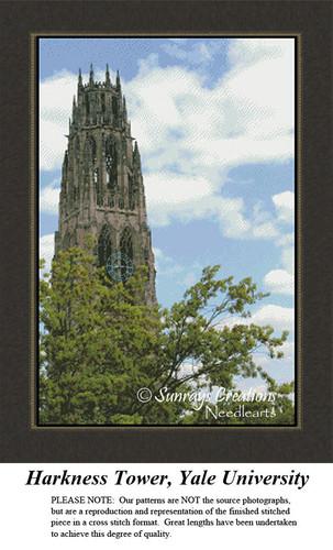 New England States Cross Stitch Patterns   Harkness Tower, Yale University