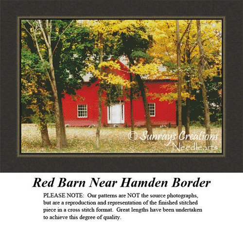 New England States Cross Stitch Patterns | Red Barn Near Hamden Border