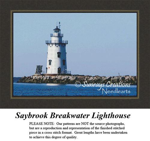 New England States Cross Stitch Patterns | Saybrook Breakwater Lighthouse