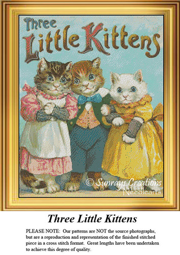 Vintage Cross Stitch Pattern | Three Little Kittens