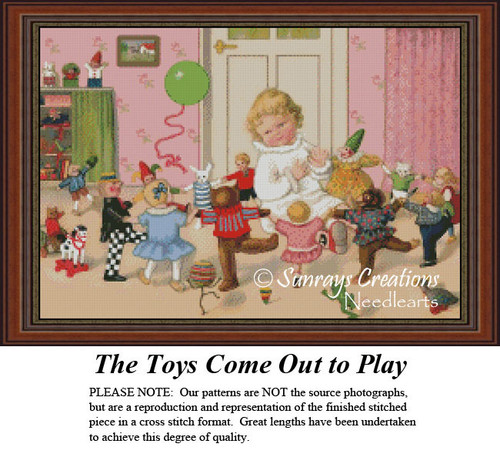 Vintage Cross Stitch Pattern | The Toys Come Out to Play