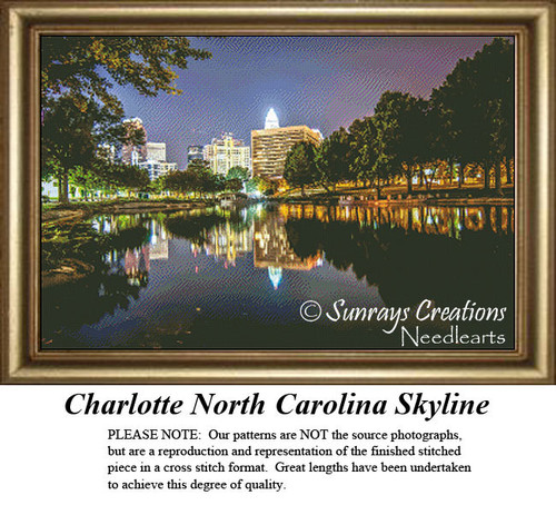 Landscape Cross Stitch Patterns | Charlotte North Carolina Skyline