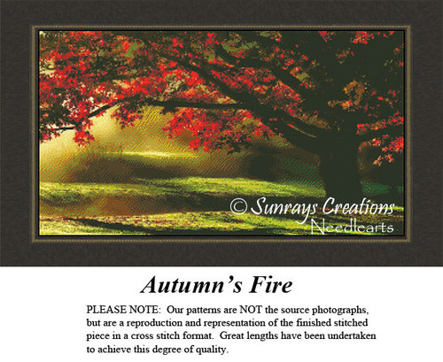 Tree Cross Stitch Patterns | Autumn's Fire