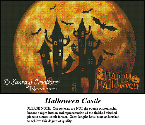Vintage Cross Stitch Pattern | Halloween Castle