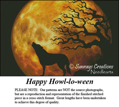 Vintage Cross Stitch Pattern | Happy Howl-lo-ween