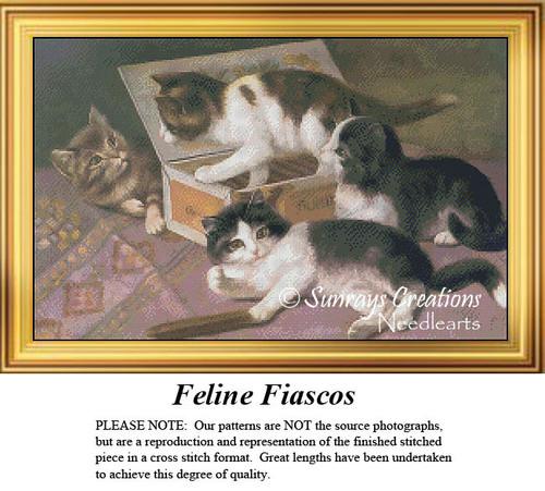 Vintage Cross Stitch Pattern   Feline Fiascos