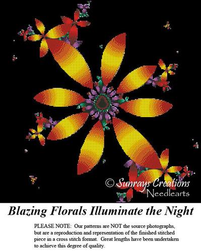 Fractal Cross Stitch Pattern | Blazing Florals Illuminate the Night