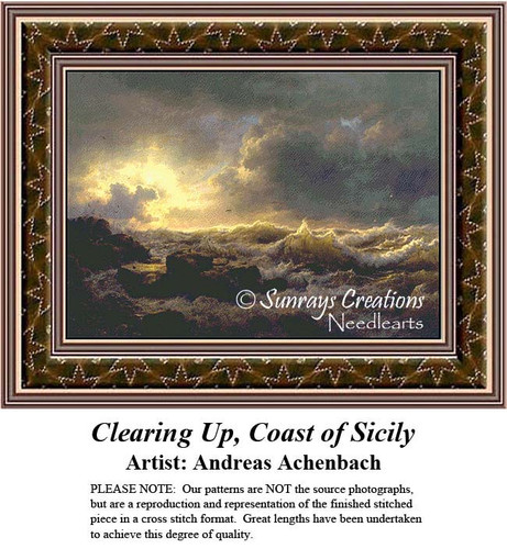 Fine Art Counted Cross Stitch Pattern | Clearing Up, Coast of Sicily