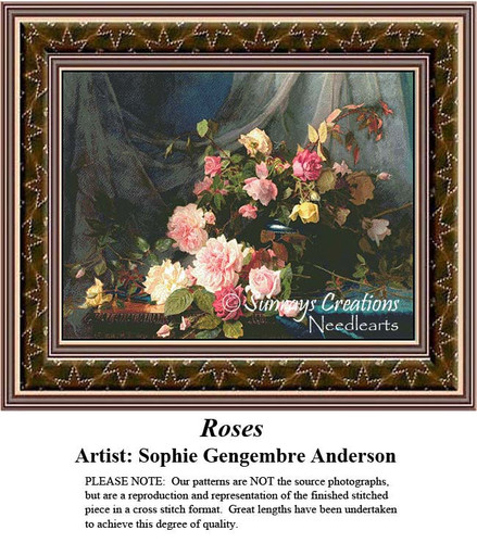 Fine Art Counted Cross Stitch Patterns | Roses