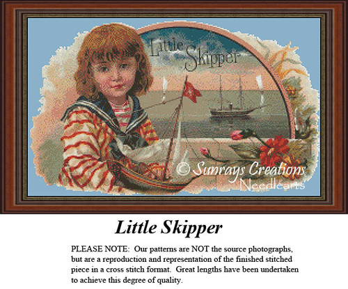 Vintage Cross Stitch Pattern   Little Skipper
