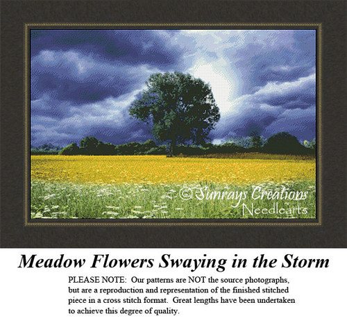Alluring Landscapes Cross Stitch Patterns | Meadow Flowers Swaying in the Storm